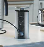 Evoline Powerport 3ST stopcontact rvs/alu/zwart.  (per stuk)